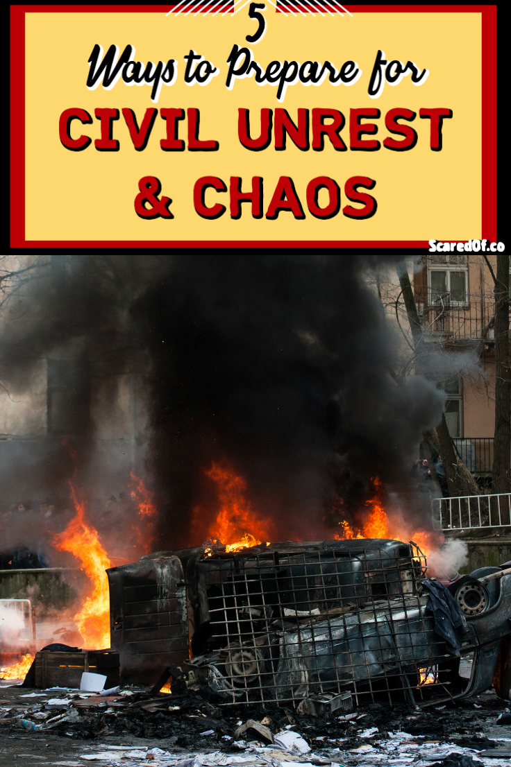 Fire and destruction in the street due to civil unrest and chaos